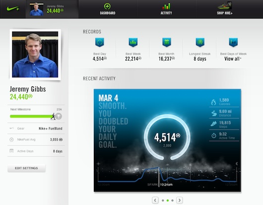 nike fuelband web screen shot