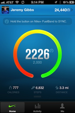 nike fuelband iOS screen shot